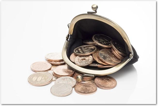 開いた黒のがま口財布から小銭が見えている様子