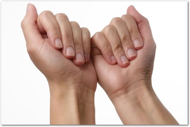 女性の軽く握った拳を掌側から見た様子