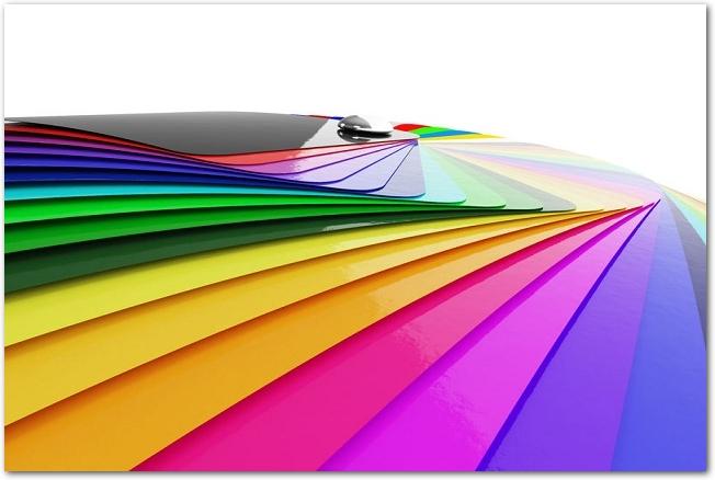 グラデーションになっているカラフルな色見本の様子