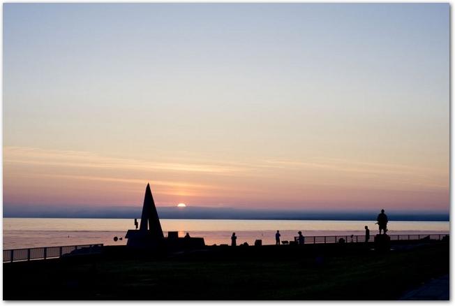 夕暮れの宗谷岬の風景